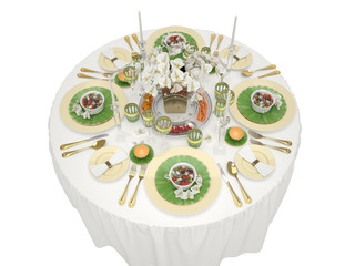 Serving of a festive table on a white background. 3d illustration