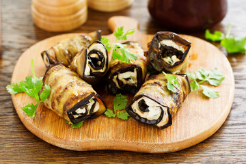 Eggplant rolls with cheese. Georgian cuisine.