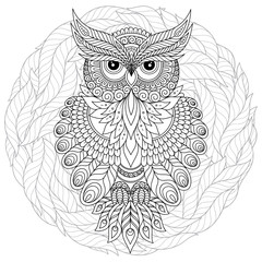Coloring book for adult and older children. Coloring page with cute owl and floral frame.