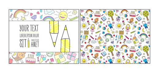 Doodle Children Drawing Card