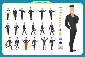 People character business set.Young businessman in formal wear.Different poses and emotions, running, standing, sitting, walking, happy, angry. Full length, front, rear view against