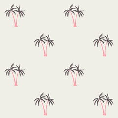 Coconut palm tree pattern textile material tropical forest background. Thailand vector fabric repeating pattern. Minimalist tropical plants, coconut trees, beach palms textile background design.