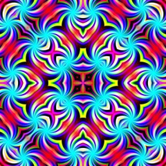 Abstract radial central ornamnetal symmetry kaleidoscopic illustration design tile