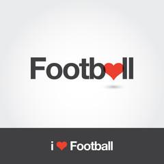 Logo football with heart. Editable vector logo design.