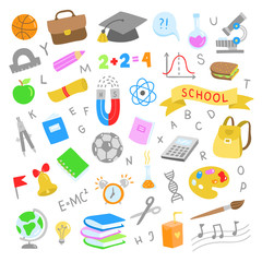 School illustrations. Cute school graphic objects. Back to school elements set