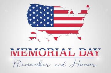 Memorial Day background with USA map and flag