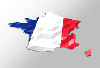 Low poly flag in Map of France
