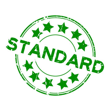 Grunge green standard wording with star icon round rubber seal stamp on white background