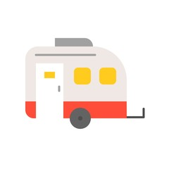 Camper car flat icon on white background