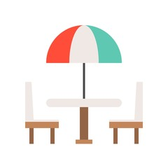 Beach umbrella on table and chair flat icon