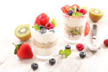 yogurt, cereal and fruits