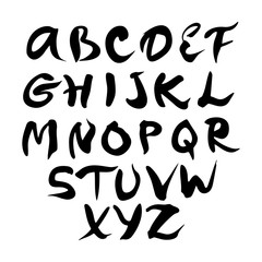ABC hand drawn uppercase font. Modern brush lettering. Calligraphy alphabet on a white background