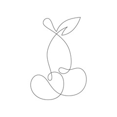 Cherry continuous line drawing element isolated on white background can be used for logo or decorative element.