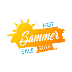 Hot summer sale banner, stylish vector design on white background