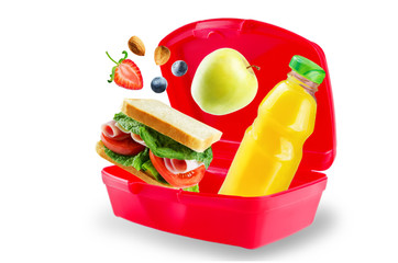School lunch with flying sandwich, fresh fruits and juice
