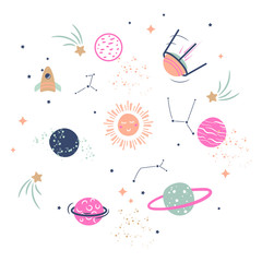 Cute planets vector illustration clipart for kids.