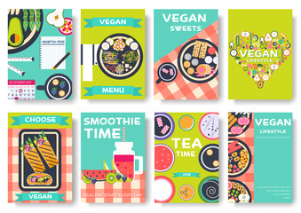 Vegan vector brochure cards set. Vegetable template of flyear, magazines, posters, book cover, banners. Vegetarian invitation concept background. Layout healthy diet illustrations modern pages