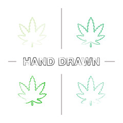 Marijuana leaf hand drawn icons set