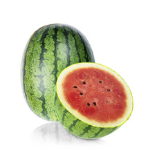 whole and half of watermelon isolated on white background.