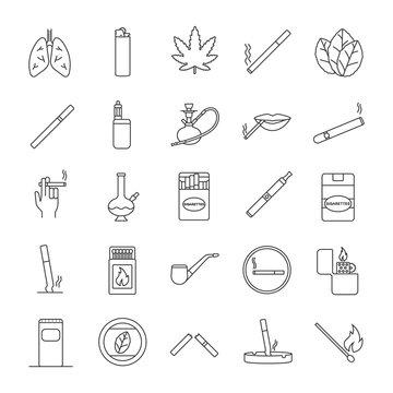 Smoking linear icons set