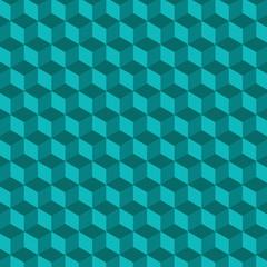 Geometric cube Vector Pattern. Blue Background.