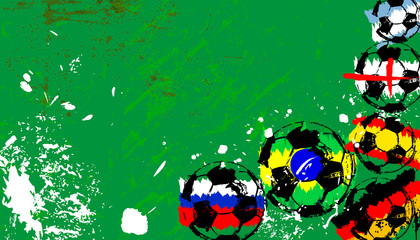 soccer / football, balls with colors of famous national teams, free copy space