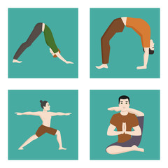 Yoga positions mans characters class cards meditation male concentration human peace lifestyle vector illustration.