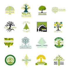 Tree logo vector treetops logotype of fir-tree or oak with natural leaves illustration set of ecology or eco organic elements forest template for business isolated on white background
