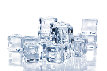 Ice cubes isolated on white background,clipping path.