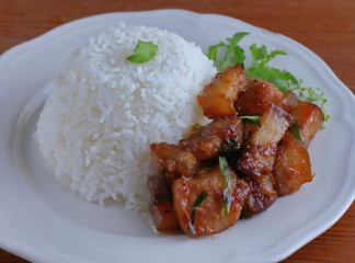 sweet pork with rice
