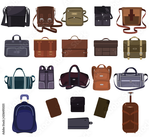 Man bag vector manlike fashion handbag or business briefcase and leather  notecase or wallet of businessman a0e36b4884