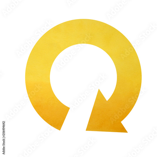 Circular Arrow Right Curved Down Watercolor Yellow