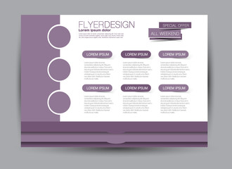 Flyer, brochure, billboard template design landscape orientation for education, presentation, website. Purple color. Editable vector illustration.