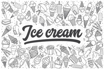 Hand drawn ice cream vector doodle set.