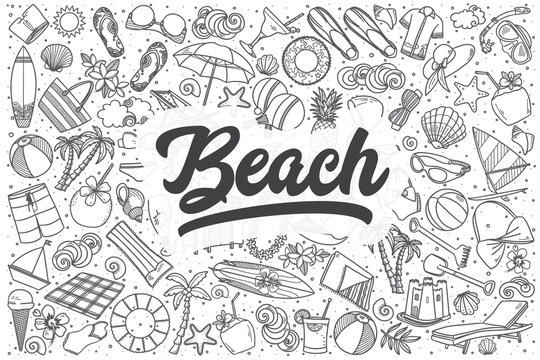 Hand drawn beach vector doodle set.