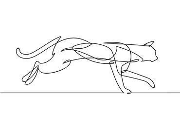 Leaping Cat Continuous Line Vector Cartoon