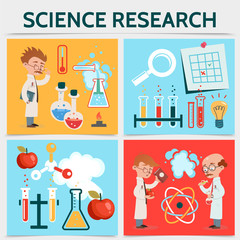 Flat Science Research Concept