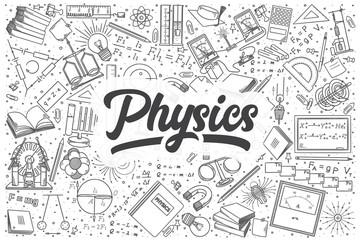 Hand drawn physics vector doodle set.