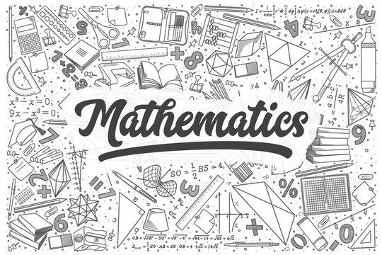Hand drawn mathematics vector doodle set.