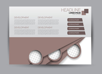 Flyer, brochure, billboard template design landscape orientation for education, presentation, website.  Brown color. Editable vector illustration.