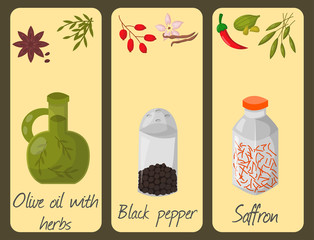 Spices condiments cards seasoning food herbs decorative healthy organic relish flavouring vegetable vector illustration.