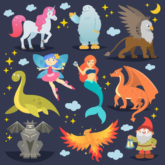 Mythological animal vector mythical creature phoenix or fantasy fairy and characters of mythology mermaid or unicorn and griffin illustration set of cartoon beasts isolated on background