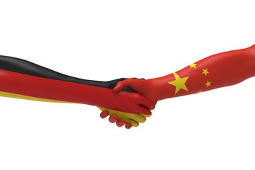 German Chinese Handshake Bilateral talks 3D render
