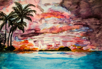 Watercolor painting, Magic Sunset on the coast