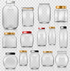 Glass jar vector empty mason glassware with lid or cover for canning and preserving illustration glassful set of container or cuppingglass isolated on transparent background