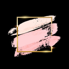 Pastel pink brush strokes with golden square frame isolated on black background. Vector design elements.