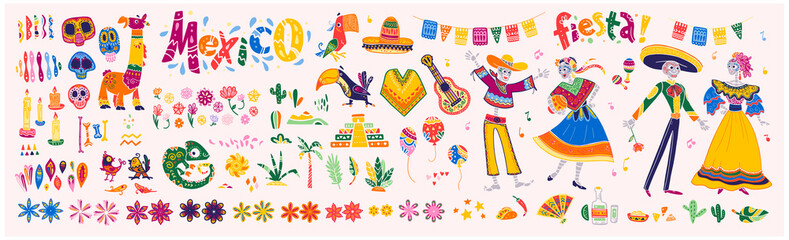 Big vector set of mexico elements, skeleton characters, animals in flat hand drawn style isolated on white background. Icons for fiesta, celebration, national patterns, decoration, traditional food. Wall mural