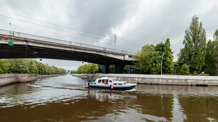 Center of the Kaliningrad city in Russia with a river Pregolya and renovated buildings