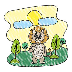 doodle funny lion cute animal in the landscape