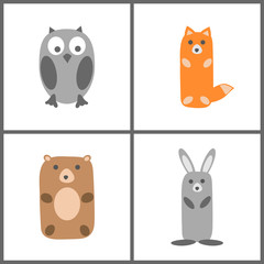 Forest animals set. Hand drawing in children's style. Vector illustration.